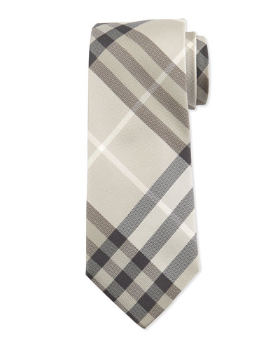 Heritage Stone Check Silk Tie, Green