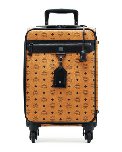 Visetos Leather Travel Trolley/Roll-Aboard Suitcase, Cognac