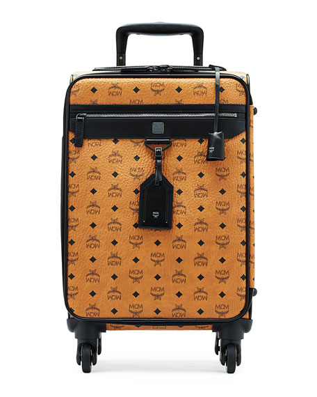 MCM Visetos Leather Travel Trolley/Roll-Aboard Suitcase, Cognac