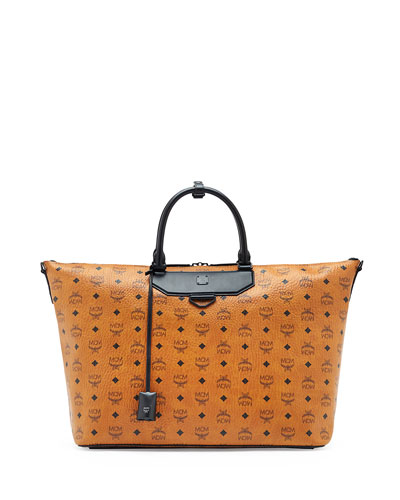 Visetos Men's East/West Shopper Tote Bag, Cognac