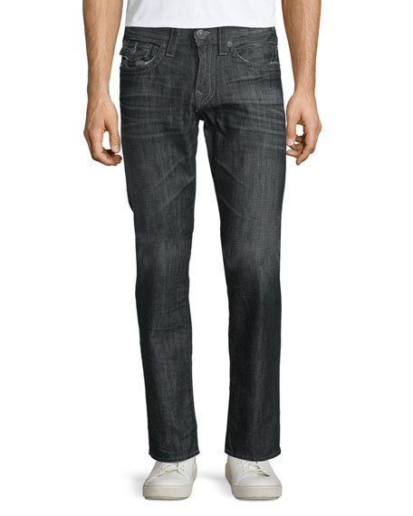 True Religion Geno Straight-Leg Denim Jeans, Dark Gray