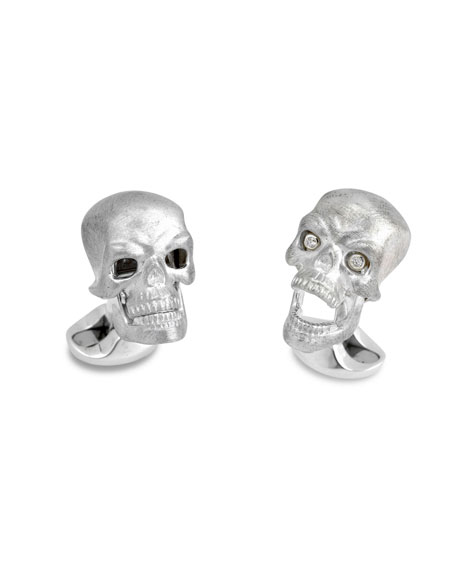 Deakin & Francis Hinged-Skull Sterling Silver Cuff Links