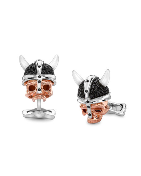 Deakin & Francis Silver Skull-Head Savage Cuff Links