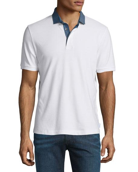 Armani Collezioni Pique Polo Shirt with Chambray Collar, White