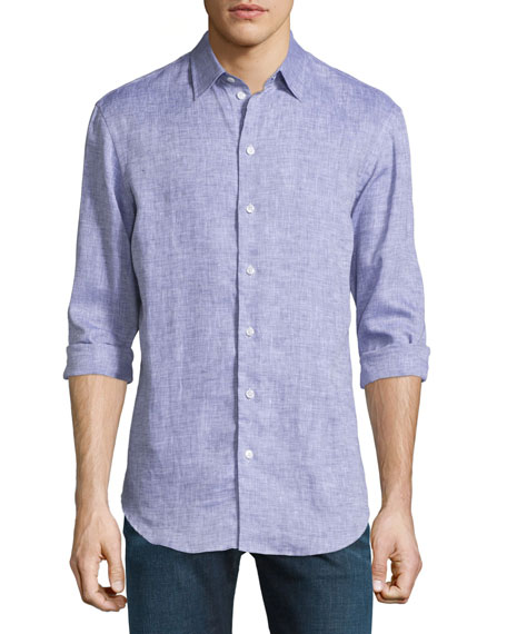 Armani Collezioni Melange Linen Button-Down Shirt, Purple