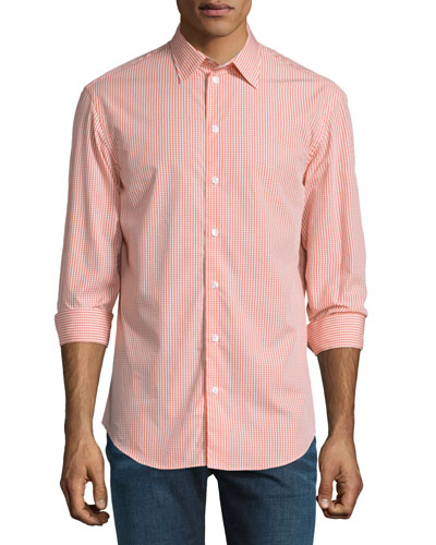 Gingham-Plaid Long-Sleeve Sport Shirt, Orange