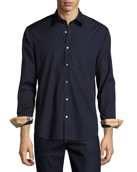 Cambridge Check-Detail Sport Shirt, Navy