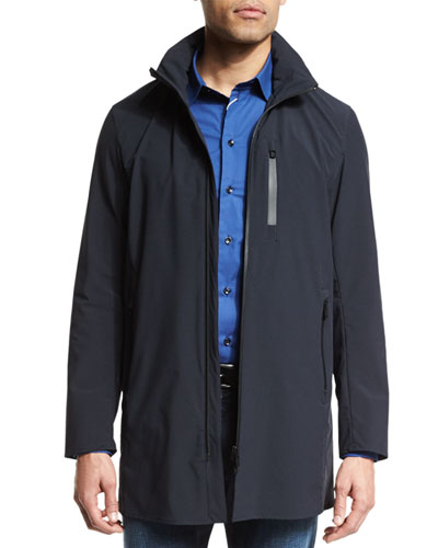 Quarter-Length Zip Nylon Jacket, Dark Blue
