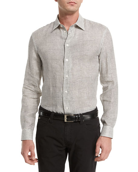 Armani Collezioni Grid Long-Sleeve Linen Sport Shirt, Multi