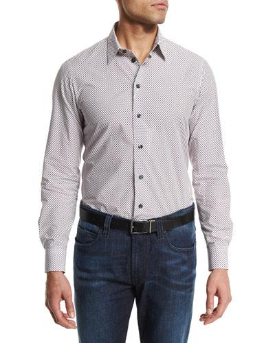 Mini Rectangle-Print Long-Sleeve Sport Shirt, Multi