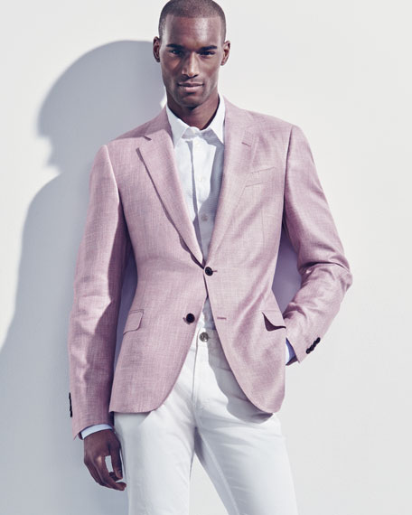 Tonal Textured Jacquard Sport Shirt, White