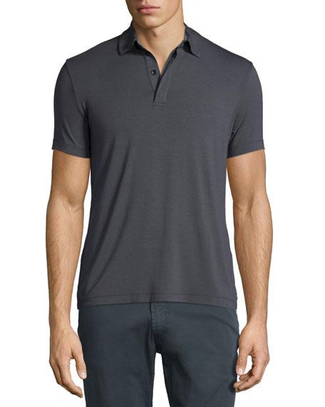 Armani Collezioni Double-Collar Short-Sleeve Polo Shirt, Charcoal