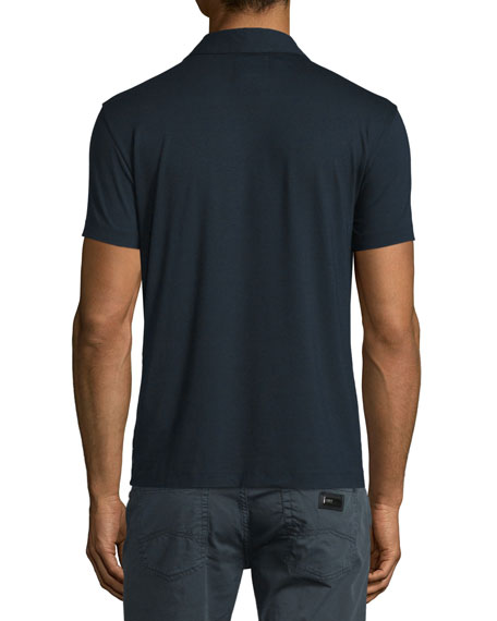 Short-Sleeve Stretch Polo Shirt, Navy