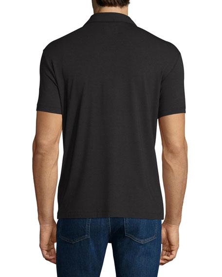 Double-Collar Short-Sleeve Polo Shirt, Black