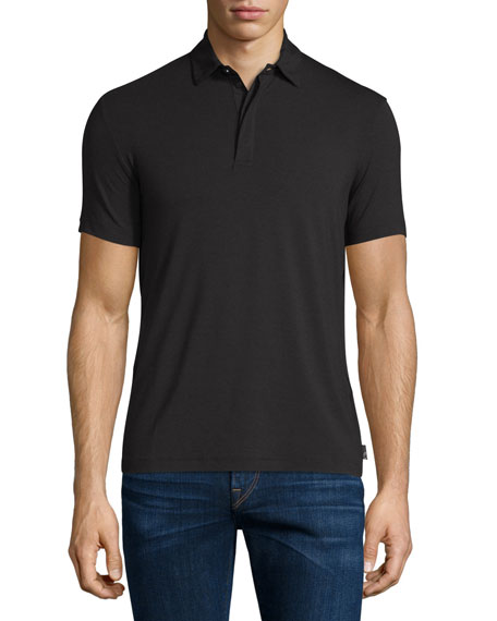 Armani Collezioni Double-Collar Short-Sleeve Polo Shirt, Black