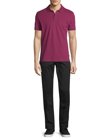 Five-Pocket Stretch-Cotton Pants, Black