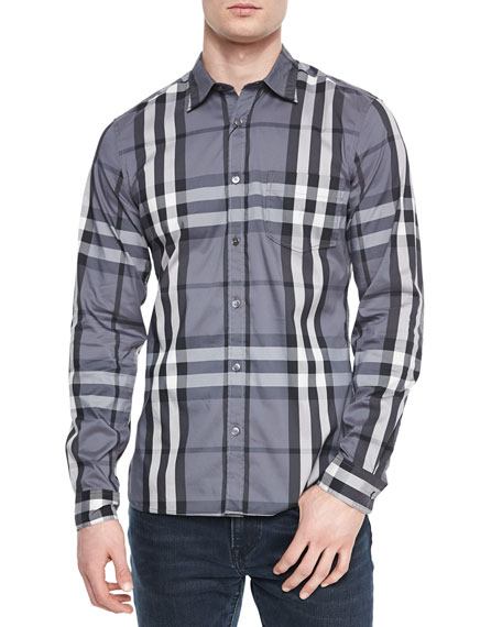 Nelson Woven Check Sport Shirt, Charcoal