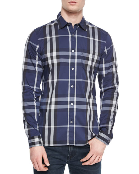 Burberry Nelson Long-Sleeve Woven Check Shirt, Navy