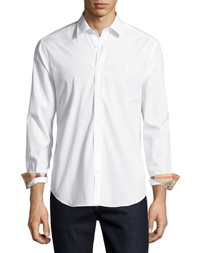 Henry Check-Detail Sport Shirt, White