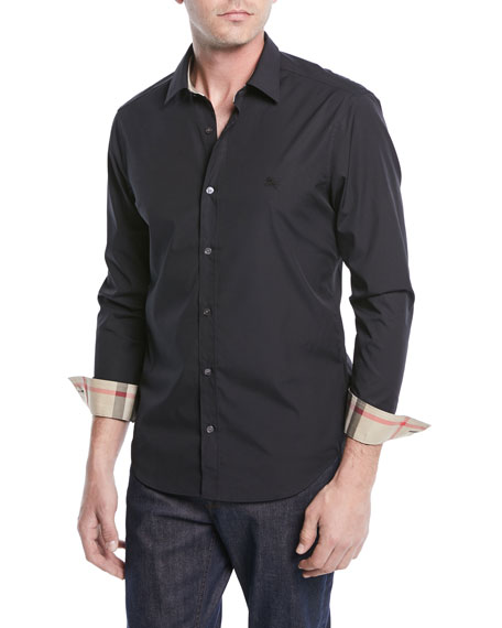 Burberry Cambridge Check-Trim Woven Shirt, Black