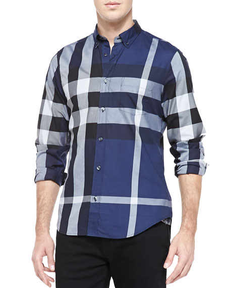 Burberry Fred Exploded Check Button-Down Shirt, Ink
