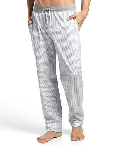 Alvaro Striped Lounge Pants, Gray/Blue