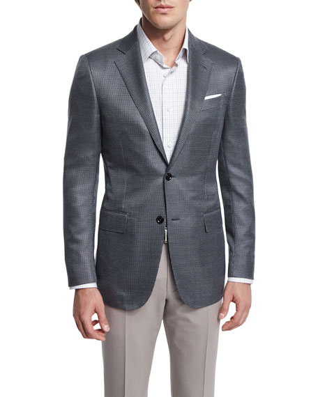 Ermenegildo Zegna Milano Mini-Check Two-Button Wool Jacket, Gray