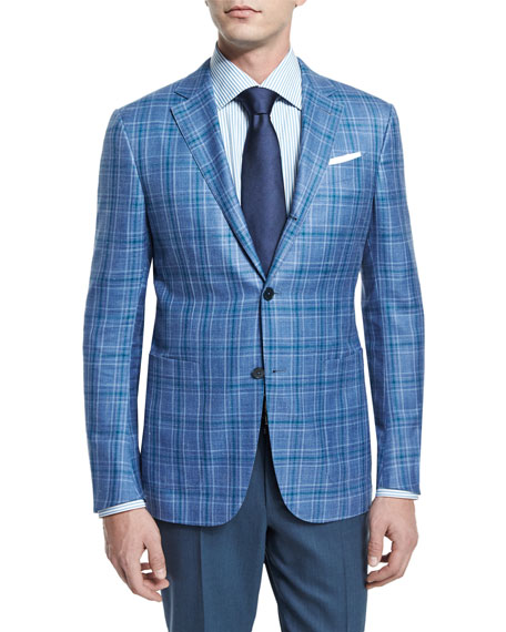 Ermenegildo Zegna Plaid Two-Button Jacket, Light Blue/Green