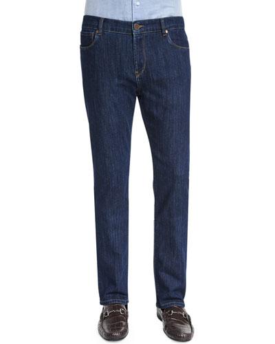 Five-Pocket Straight-Leg Denim Jeans, Indigo