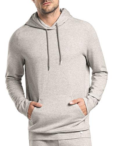 Raul Hooded Pullover Sweatshirt, Light Gray