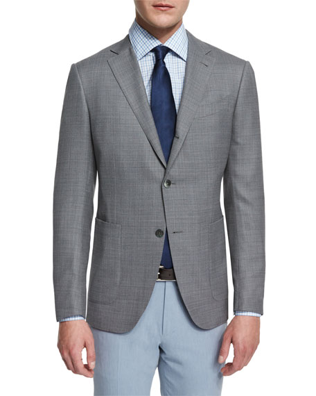Ermenegildo Zegna Milano Textured Solid Two-Button Blazer, Gray