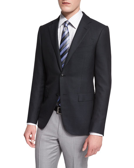 Ermenegildo Zegna Milano Solid Twill Two-Button Jacket, Black
