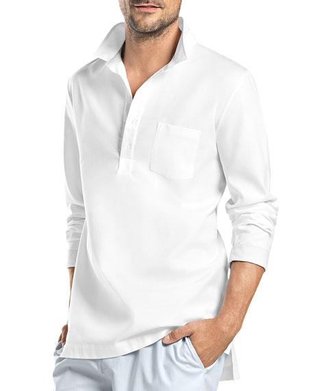 Hanro Alvaro Long-Sleeve Button Shirt, White