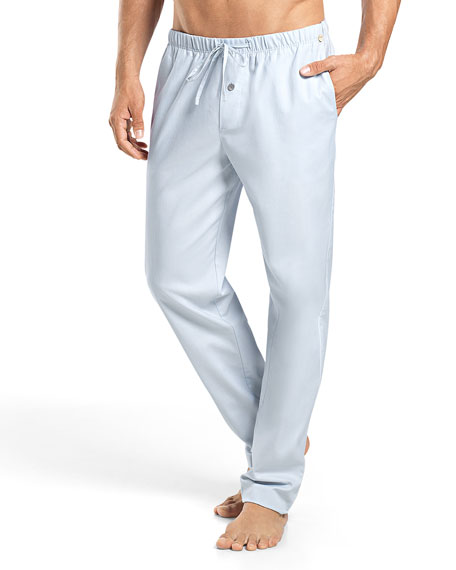 Hanro Alvaro Woven Lounge Pants, Light Blue