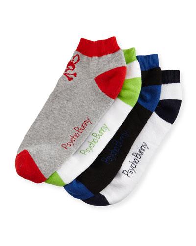 Men's Four-Pair Low-Cut Sock Set, Multi