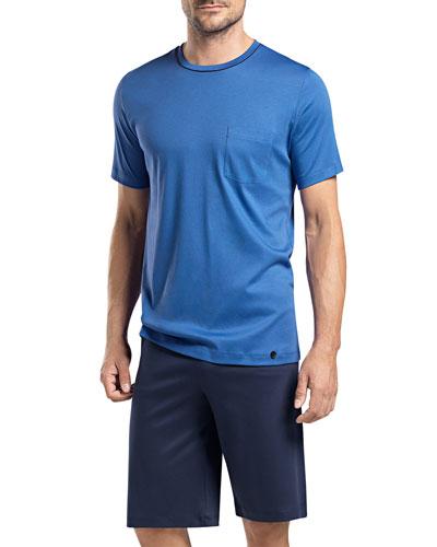 Sergio Short-Sleeve Lounge Shirt and Shorts Set, Blue