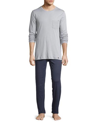 Men's Night & Day Long-Sleeve Pajama Set, Gray/Navy