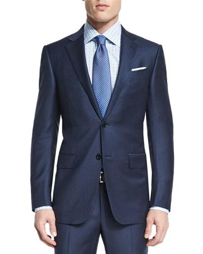 Mini-Stripe Two-Piece Wool Suit, Navy
