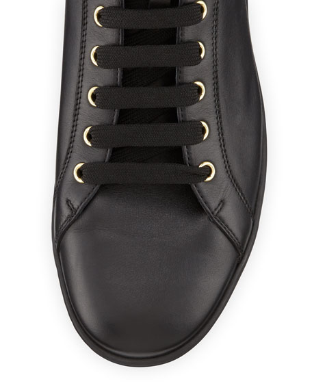 Leather High-Top Sneaker with Gold Medallion, Black