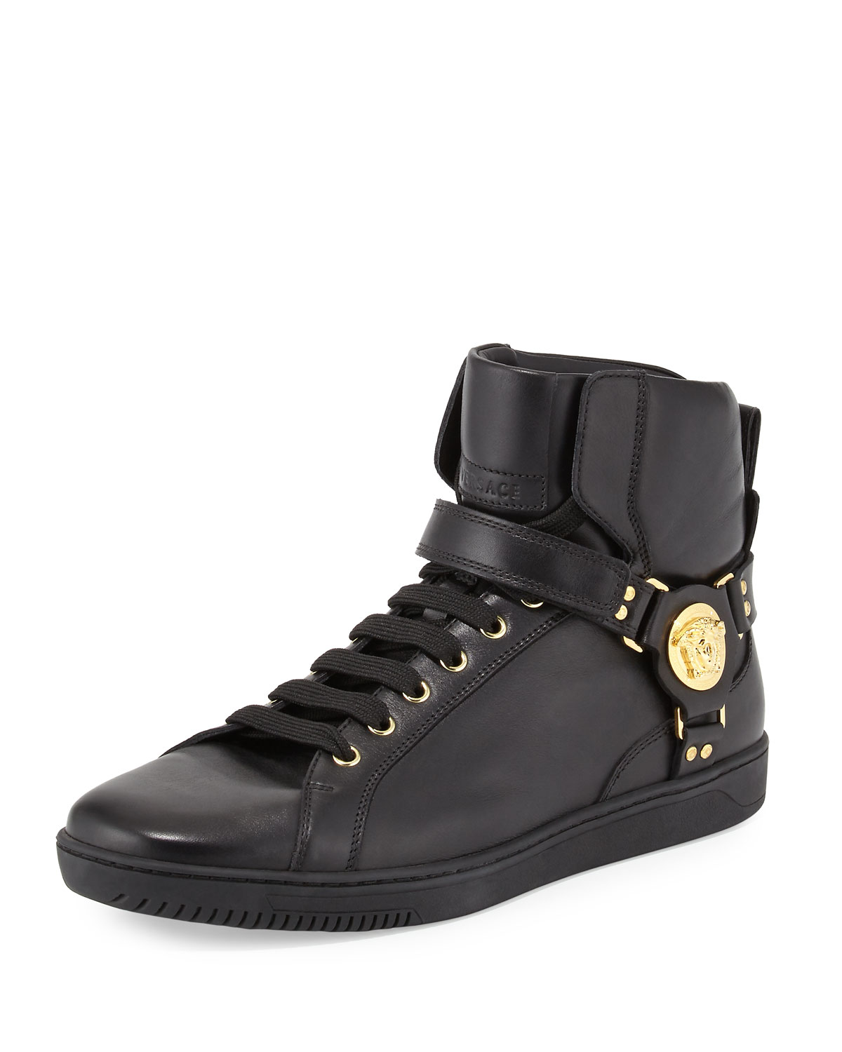Versace Leather High-Top Sneaker with Gold Medallion