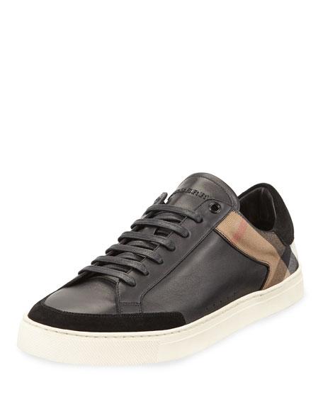 Burberry Rettford Men's Check Leather Low-Top Sneaker, Black