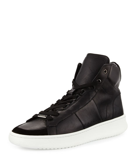 Burberry Walbrook Leather High-Top Sneaker, Black