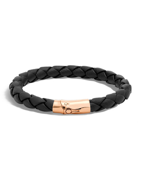 Bamboo Men's Bronze Woven Leather Station Bracelet
