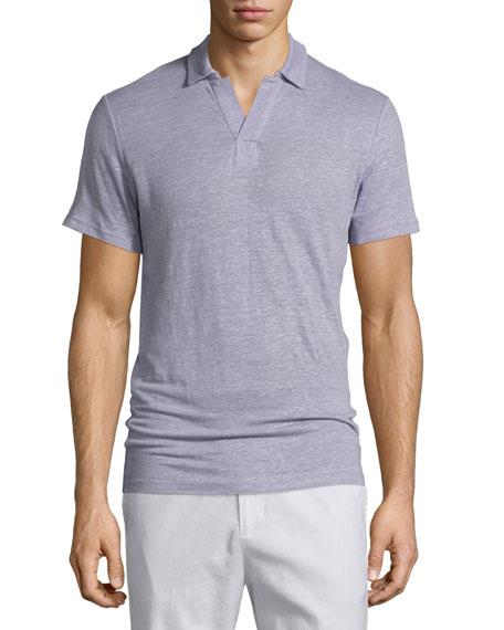 Vince Johnny Collar Linen Polo Shirt, Lavender