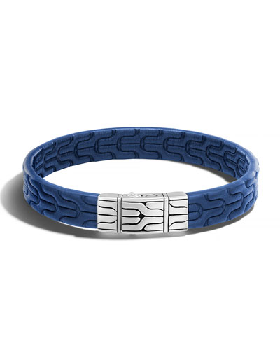 Classic Chain Men's Leather Bracelet, Silver/Blue