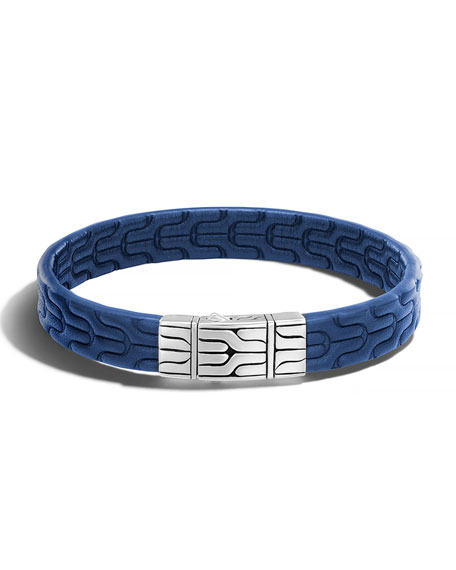 John Hardy Classic Chain Men's Leather Bracelet, Silver/Blue