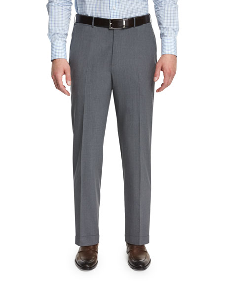 High-Performance Wool Twill Trousers, Gray
