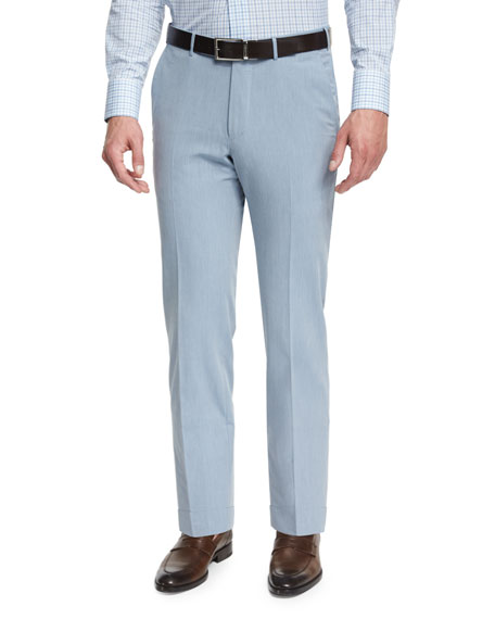 Ermenegildo Zegna Cotton-Twill Flat-Front Trousers, Light Blue