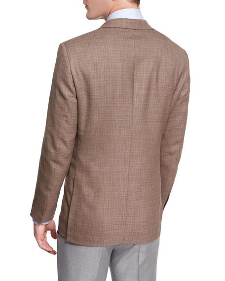 Milano Easy Textured High-Performance Wool Blazer, Khaki