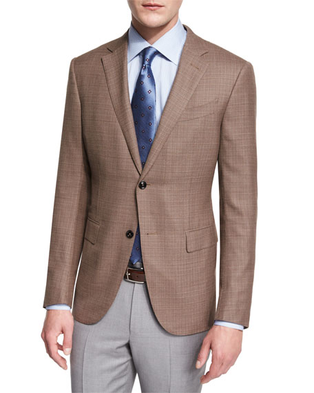 Milano Easy Textured High-Performance Wool Blazer, Khaki